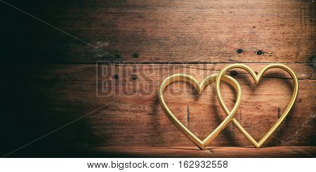 3D Rendering Joined Hearts On Wooden Background