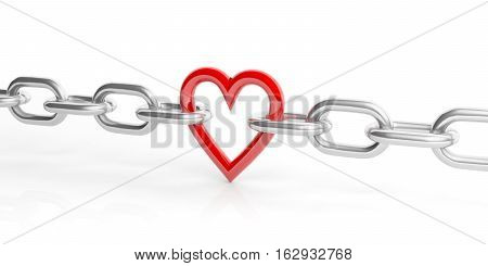 3D Rendering Heart In A Chain On White Background