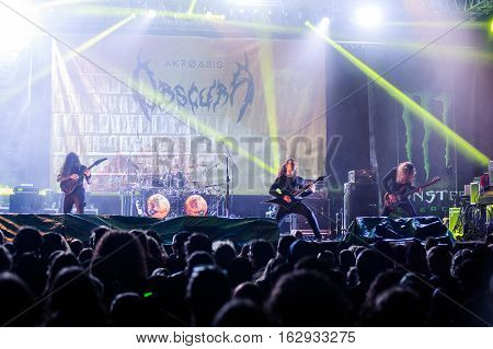 TOLMIN, SLOVENIA - JULY 28TH: GERMAN TEHNICAL DEATH METAL BAND OBSCURA PERFORMING AT METALDAYS FESTIVAL ON JULY 28TH, 2016 IN TOLMIN, SLOVENIA