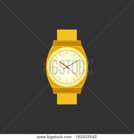 Wrist Watch unisex golden color on black field. Stylish accessory.
