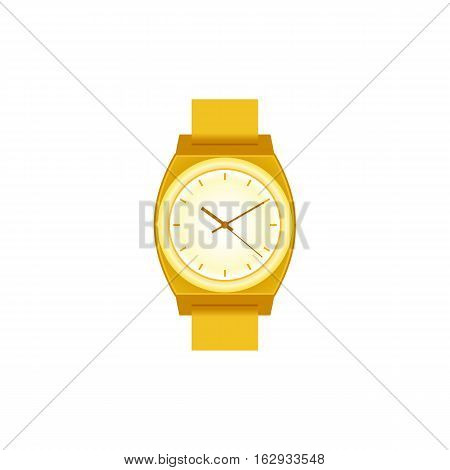 Wrist Watch unisex golden color on white field. Stylish accessory.