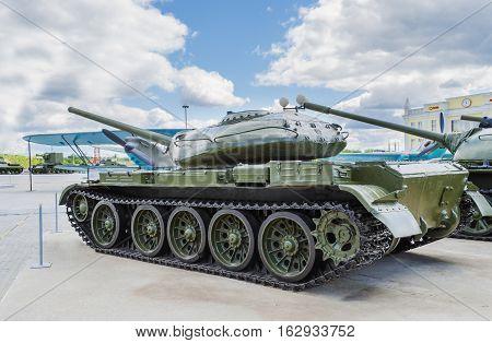 VERKHNYAYA PYSHMA RUSSIA - JUNE 11 2015: Russian Tank T-54 - exhibit of the Museum of military equipment.
