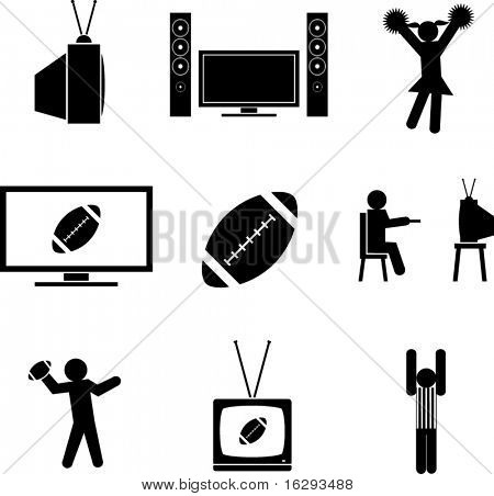 watching football symbols set