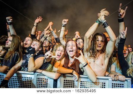 Tolmin, Slovenia - July 25th: Heavy Metal Fans enjoying the Metaldays Festival on July 25th, 2016 in Tolmin, Slovenia