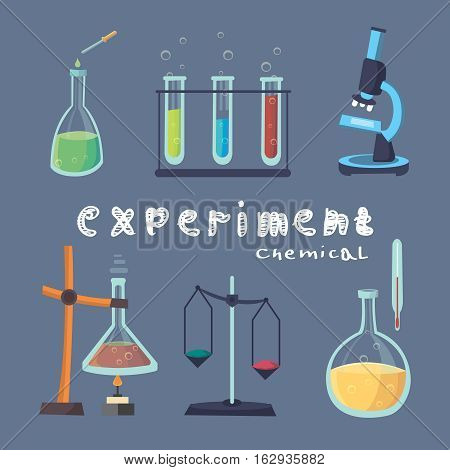 Vector illustration of icon beaker. Laboratory workspace and workplace concept