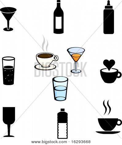 beverages illustrations and symbols set