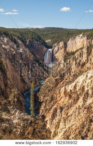 the scenic landscape of Yellowstone falls in Yellowstone national park Wyoming