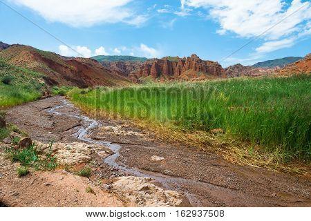 Small Mountain River In The Aeolian Mountains, Kyrgyzstan.