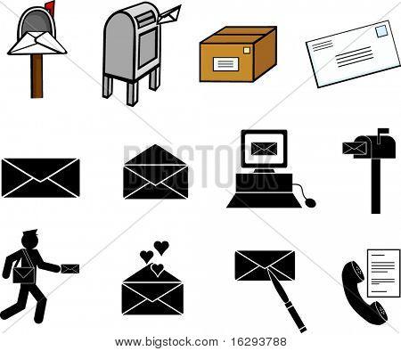 mail communications illustrations and symbols set