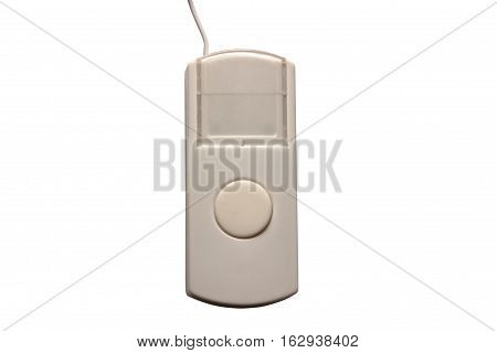 White doorbell button isolated on white background