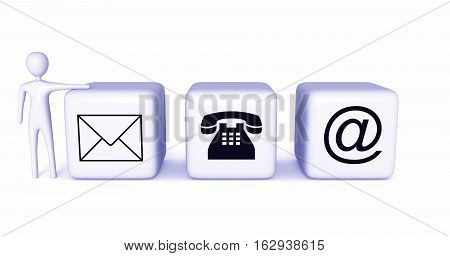 Contact us: light blue cubes with a light blue 3d man on a white background 3d illustration
