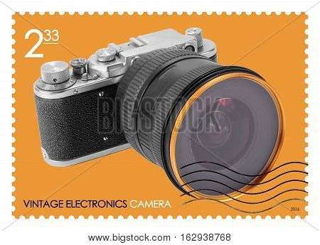 A fake post stamp shows image of retro camera Fake series Vintage electronics.