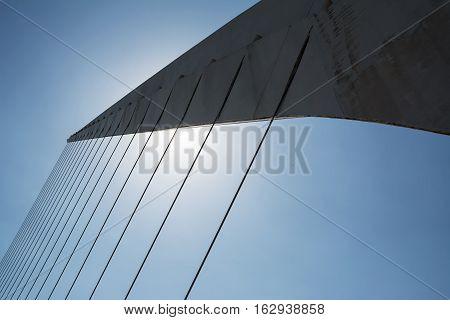 Details of cords del puente de la mujer (Woman Bridge) in Buenos Aires