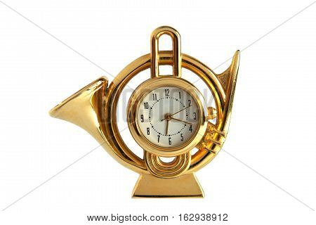 Retro gilded table clock French horn isolated on white background