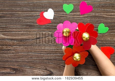 Children's Gift. A Bouquet Of Flowers Heart Made Of Paper And Candy On Valentine's Day. Children's A