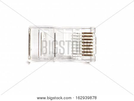 Transparent ethernet internet rj-45 connector isolated tehnology background on white
