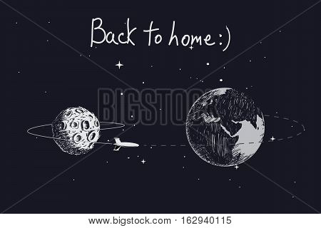spaceship flying to Earth after mission on the Moon.Hand drawn vector illustration