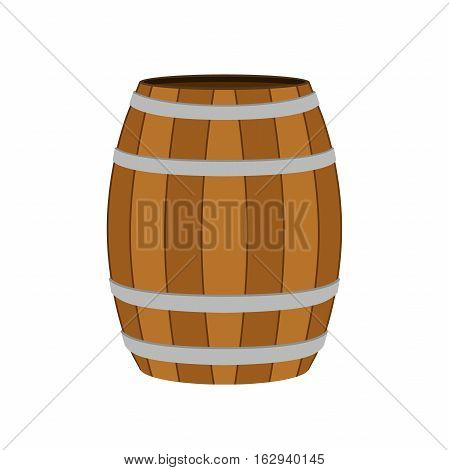 Brown wooden barrel for wine, beer, rum, cognac, alcohol Flat cartoon style