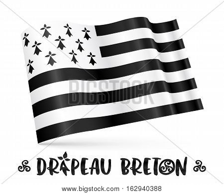 Vector 3D Breton flag with stylized sign in - French Drapeau Breton