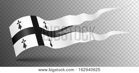 Vector waving ancient flag of Brittany isolated on transparency grid
