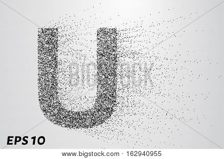 Letter U From The Particles. The Letter U Consists Of Circles And Points. Vector Illustration