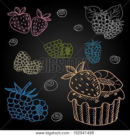 Set hand-drawn food ingredients on chalkboard. Hand drawn vector illustration. Set with desserts cupcake, berries, strawberries, blackberries, raspberries, blueberries.