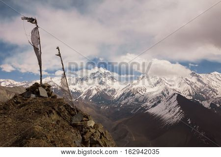 View to Thorong La Pass from Mountain near Kagbeni on Annapurna Circuit trek, Himalays, Nepal. poster