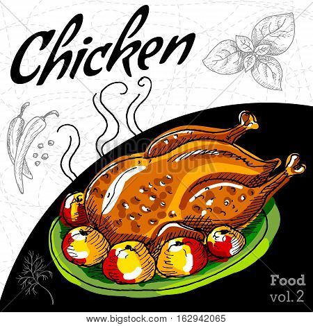 Roasted grill chicken seasoned with apples and spices. Hand drawn vector illustration