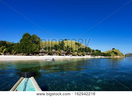 Touristic boat arriving to Seraya Island near Flores, Indonesia.