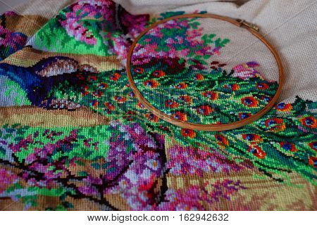 cross stitch big picture embroidery decoration textile