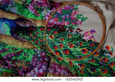 cross stitch big picture embroidery old, textile