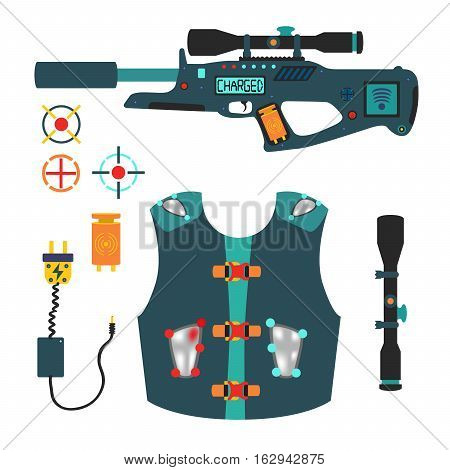 Laser tag game vector set in flat vector style