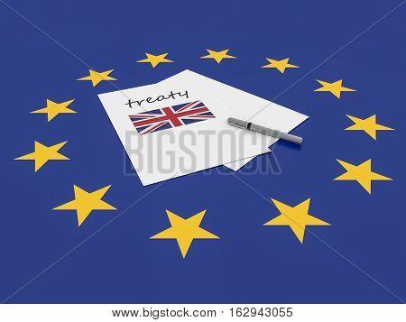 European Politics: UK Treaty Note On EU Flag 3d illustration