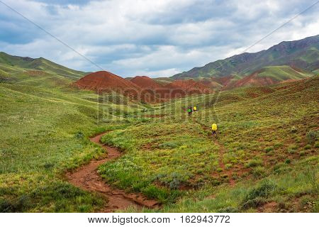 Tourists In The Aeolian Mountains, Kyrgyzstan.