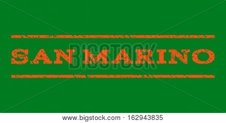 San Marino watermark stamp. Text caption between horizontal parallel lines with grunge design style. Rubber seal stamp with scratched texture. Vector orange color ink imprint on a green background.