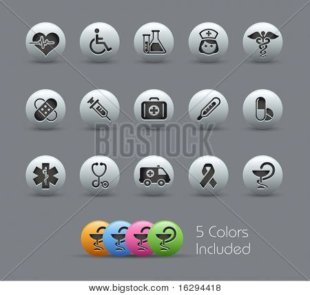 Medical Icons // Pearly Series -------It includes 5 color versions for each icon in different layers --------- poster