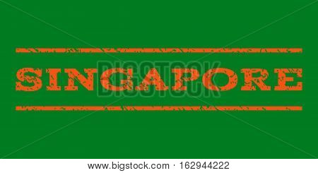 Singapore watermark stamp. Text tag between horizontal parallel lines with grunge design style. Rubber seal stamp with dust texture. Vector orange color ink imprint on a green background.