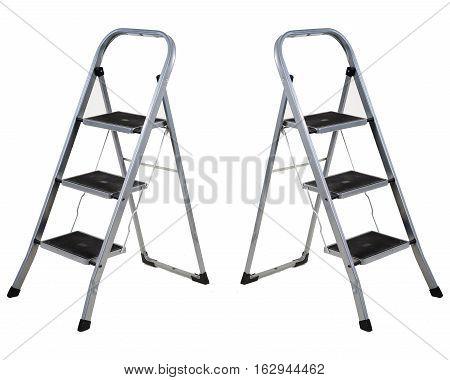 Three steps folding ladder isolated on white