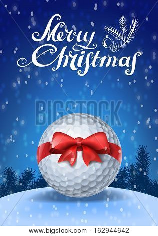Golf ball tied with a red bow on blue background with snow and greeting text. Vector illustration