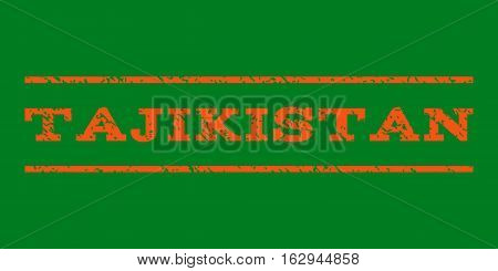 Tajikistan watermark stamp. Text tag between horizontal parallel lines with grunge design style. Rubber seal stamp with dirty texture. Vector orange color ink imprint on a green background.