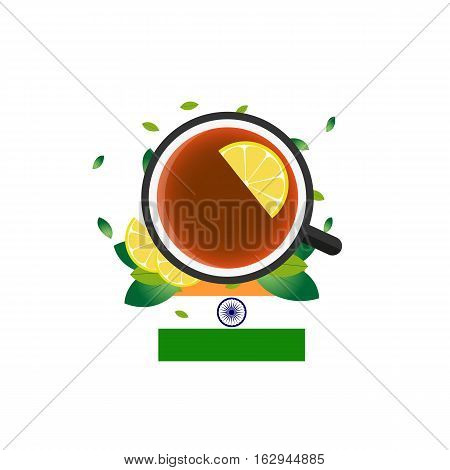 Tea Time. Cup Of Tea With Lemon. Indian Tea. Vector Illustration.