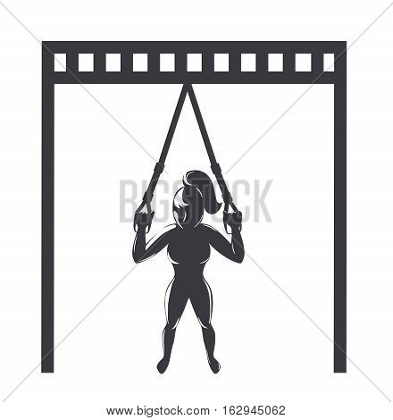 Suspension training icon. Girl doing workout with fitness straps. Vector illustration
