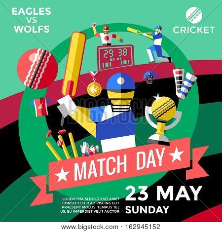 Cricket advertisement poster in flat style for championship vector illustration