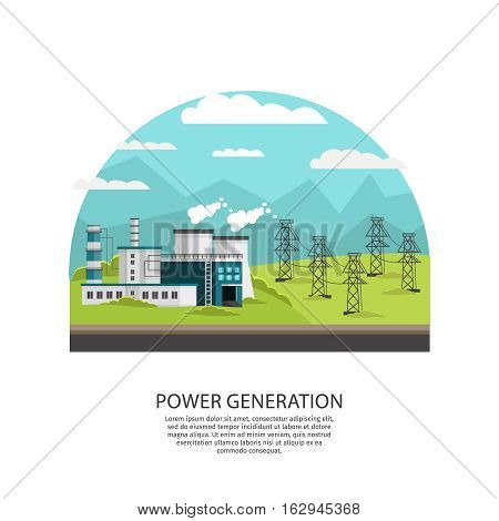 Conceptual composition with orthogonal powerhouse transmission line images in outdoor landscape with hills sky and mountains vector illustration