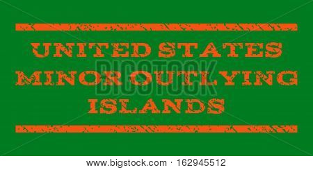 United States Minor Outlying Islands watermark stamp. Text caption between horizontal parallel lines with grunge design style. Rubber seal stamp with unclean texture.