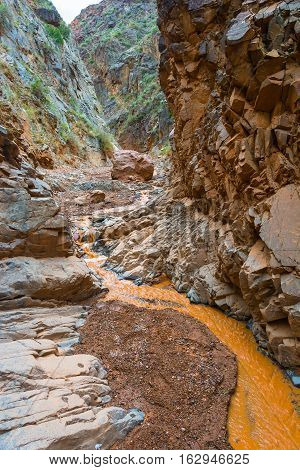 Orange River In The Rocky Shores Of The Aeolian Mountains.