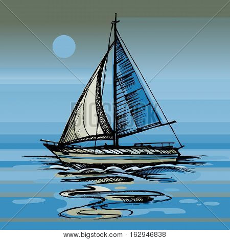 Sailing boat vector color sketch with reflection. Night moon on the sea yacht floating on the water surface.