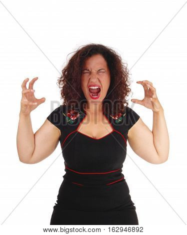 A beautiful young woman in a black dress with her hands up screaming with open mouth isolated for white background.