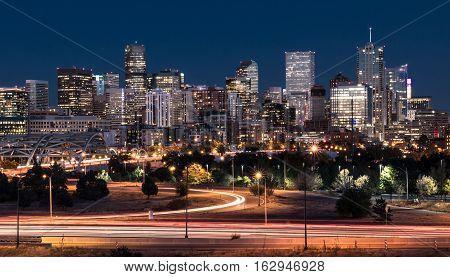 DENVERCO - OCTOBER 7: Denver night skyline from across the South Platte River