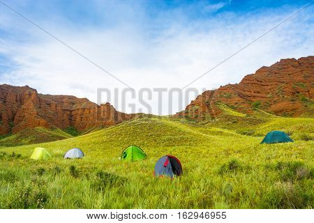 The Campground In The Aeolian Mountains, Kyrgyzstan.